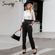 Simplee Ruffled elastic high waist button women pants Casual solid streetwear female trousers Office ladies blazer botttom pants