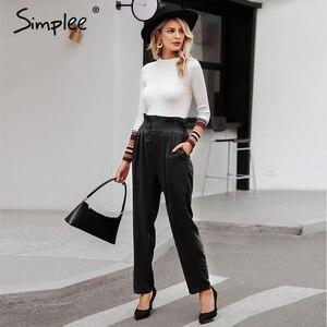 Image 1 - Simplee Verstoorde Elastische Hoge Taille Knop Vrouwen Broek Casual Solid Streetwear Vrouwelijke Broek Office Dames Blazer Botttom Broek