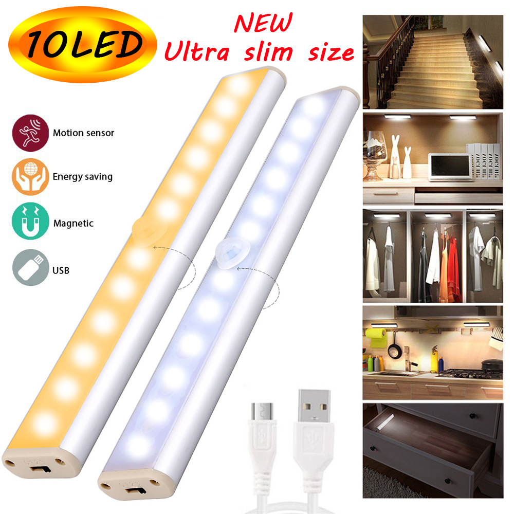 PIR Motion Sensor LED Cabinet Light 10 LEDs USB Rechargeable Under Cabinet Night Light Daily Light Wall Lamp Stairs Kitchen D30