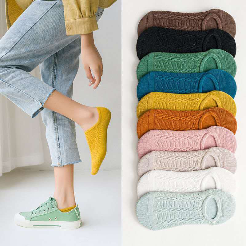 Sock Women Invisible Socks New Spring And Summer Cotton Silicone Non-slip Ladies Casual Shallow Mouth Mesh Breathable Socks