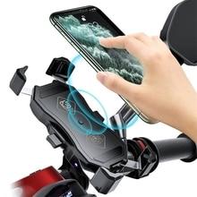 Supporto per telefono da 3.5 6.5 pollici moto QC3.0 caricabatterie Wireless manubrio staffa per bicicletta carica rapida caricatore USB staffa di montaggio GPS