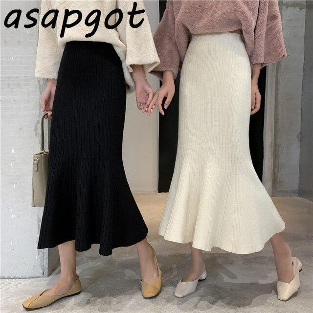 Asapgot Fall Winter Korean Chic Ruffles Slim High Waist Mermaid Skirts Women Wild Solid Wrap Hip Knitted Trumpet Skirt Faldas 1