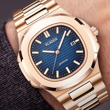 Classic Patek Nautilus Watch Hot Sale Top Luxury Brand PLADEN Full Steel Gold Wristwatch Men Quartz watch AAA Watches For men