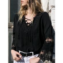 Women Fashion Tshirt Women Casual Loose Soild Lace Long Sleeve Shirt