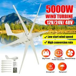 5000W 12V/24V/48V 6 Nylon Fiber Blade Wind Turbines Generator Horizontal Power Windmill Energy Turbines Charge Fit for Home
