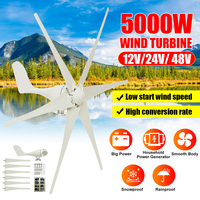 5000W 12V/24V/48V 6 Nylon Fiber Blade Wind Turbines Generator Horizontal Power Windmill Energy Turbines Charge Fit for Home