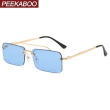 Peekaboo semi rimless rectangular sunglasses for women blue gold uv400 men sun g