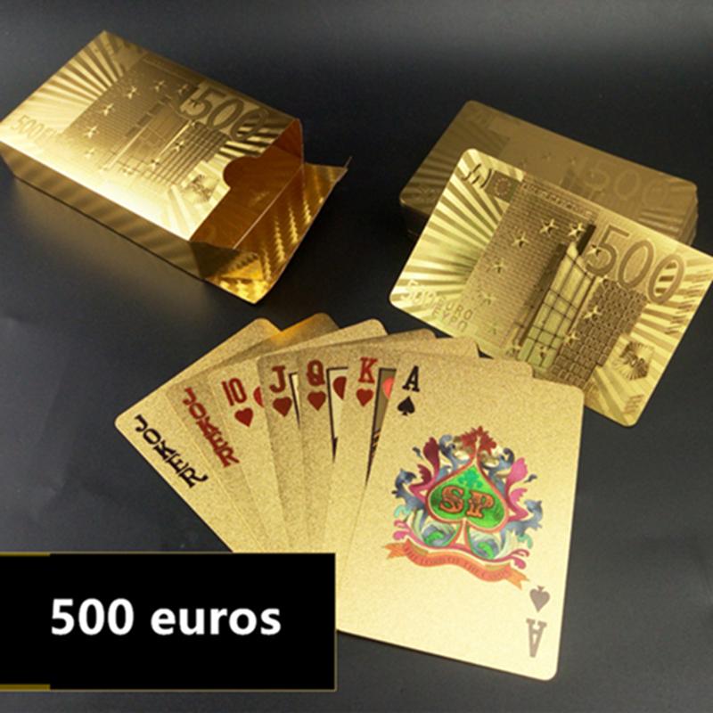 Настольные игры для покера с покрытием из водонепроницаемой золотой фольги, 54 игральные карты, 500 евро
