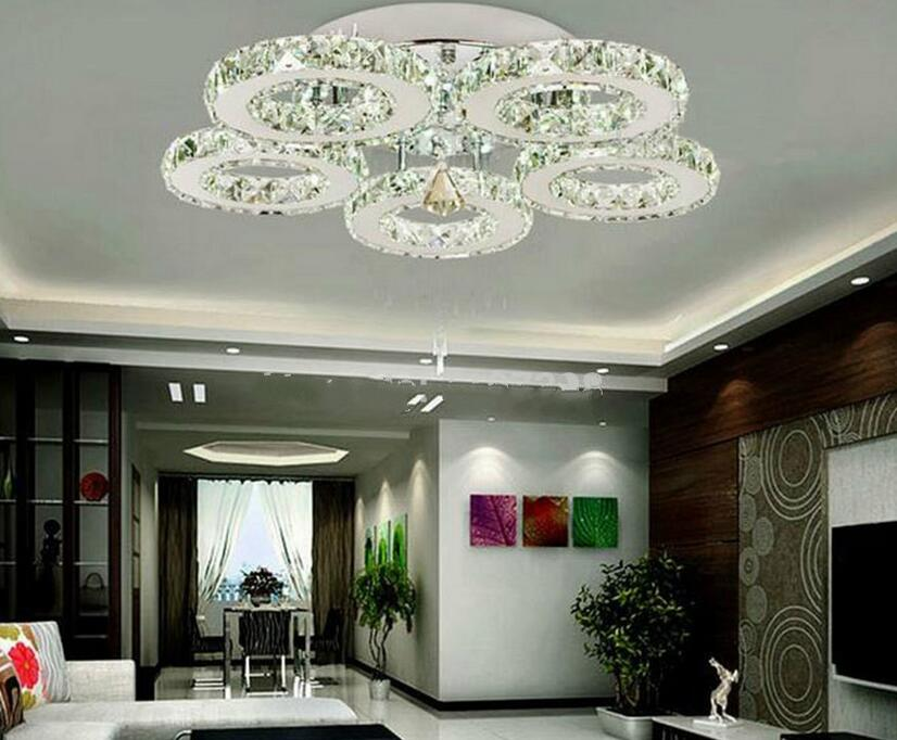 H926226621b334e0fae380183b32c92adq Modern Crystal Rings Ceiling Chandelier Lights Silver Crystal Led Plafonnier for Bedroom Kitchen Ceiling Lamp Lustre