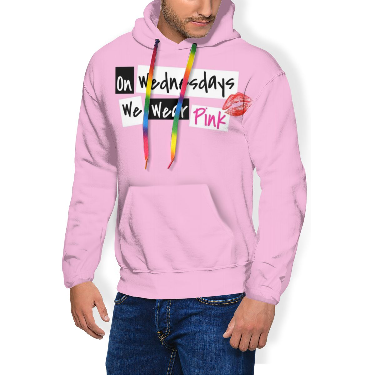 Mean Girls Hoodie On Wednesdays We Wear Pink Hoodies Outdoor Autumn Pullover Hoodie Polyester Men Hoodies