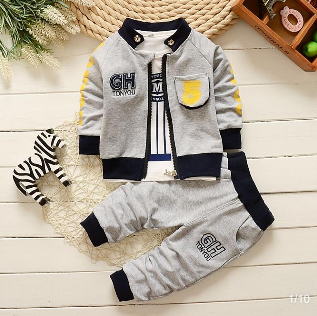 BibiCola Baby Boy Clothes Spring Autumn Infant Clothing Kids Clothes for Children Hoodies Striped Tops+Pants 2pcs