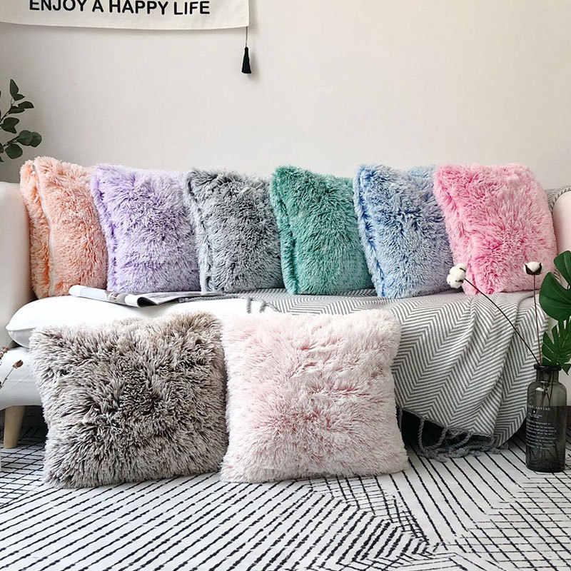 soft faux fur pillows case plush cushion cover pink blue purple warm living room bedroom sofa decorative pillows cover