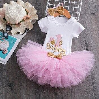 1 año bebé niña cumpleaños Tutu vestido niñas pequeñas 1ª fiesta trajes bautizo del recién nacido vestido 12 meses Ropa de bautismo Infantil