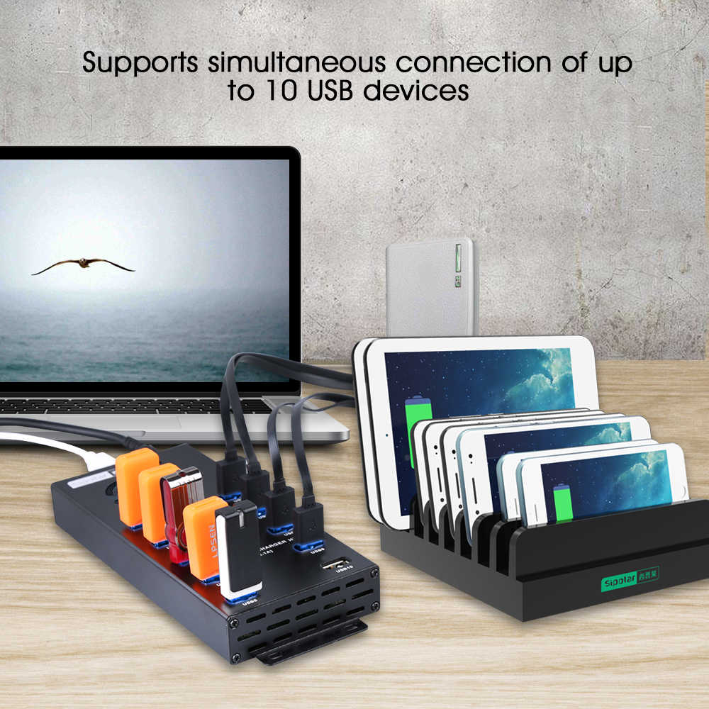 Sipolar 10 portas usb 2.0 dados e carregador hub com 12v10a adaptador de energia para tablets de telefone carregamento litecoin bitcoin mineiros a-400