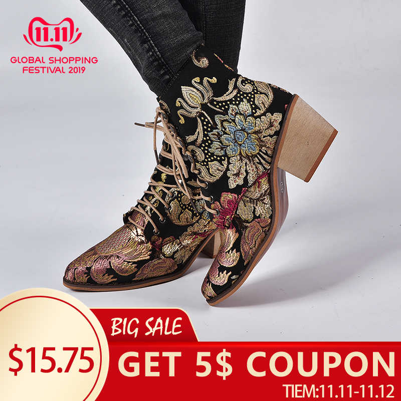 LOOZYKIT  2019 New Autumn Retro Women Embroidery Flower Short Boots Lady Elegant Lace Up Ankle Boots Female Chunky Botas Mujer