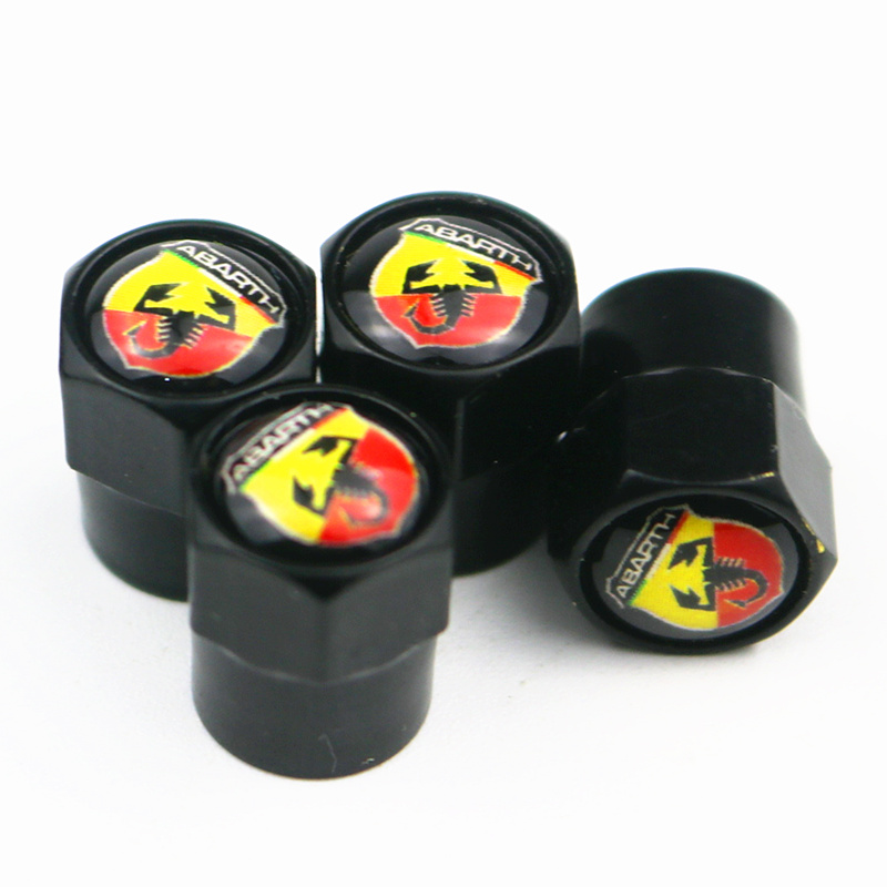 4pcs Car Styling Valve Caps Case For Fiat Punto Abarth 500 Stilo Car-Styling Auto Tire Wheel Tyre Stem Air Covers Accessories