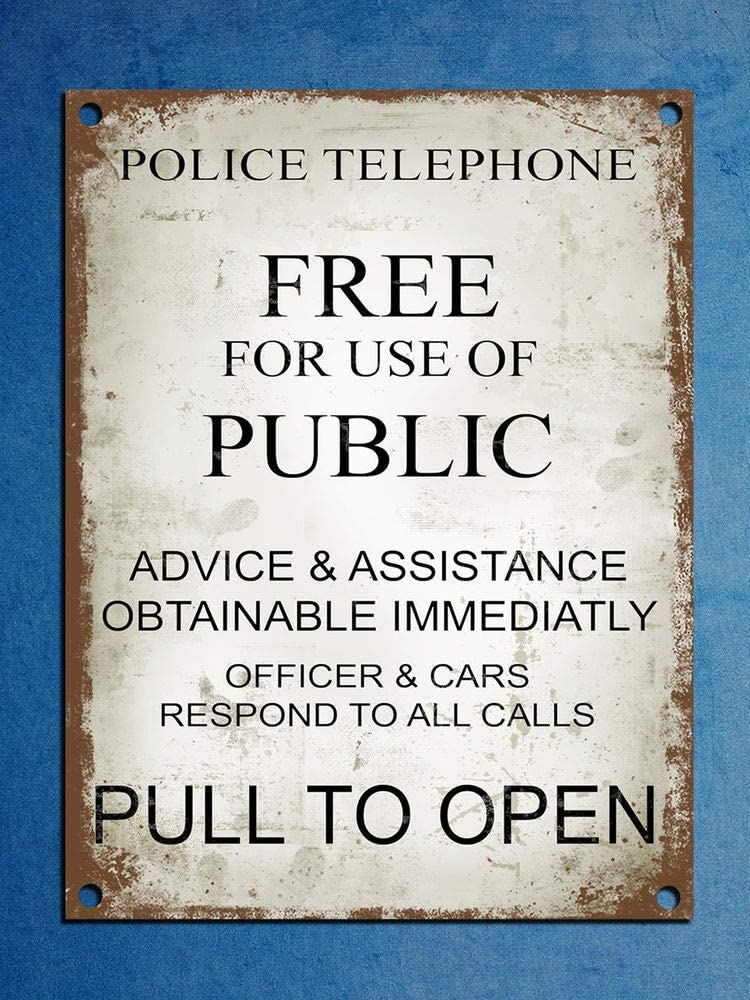 Fashionable Metal Plaque Retro Vintage Style Police Phone Box Tardis Dr Who Wall Door Sign 8X12 inchs Metal tin Sign
