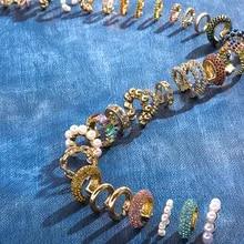 Clip Earrings Ear-Cuff Wedding-Jewelry Stackable Pearl Rhinestone C-Shaped Small Women