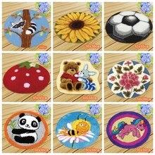 Mat Latch Hook Smyrna Knooppakket Button Cushion Kit Embroidery Carpet Cushion Animals Needlework Almofadas Do It Yourself DIY