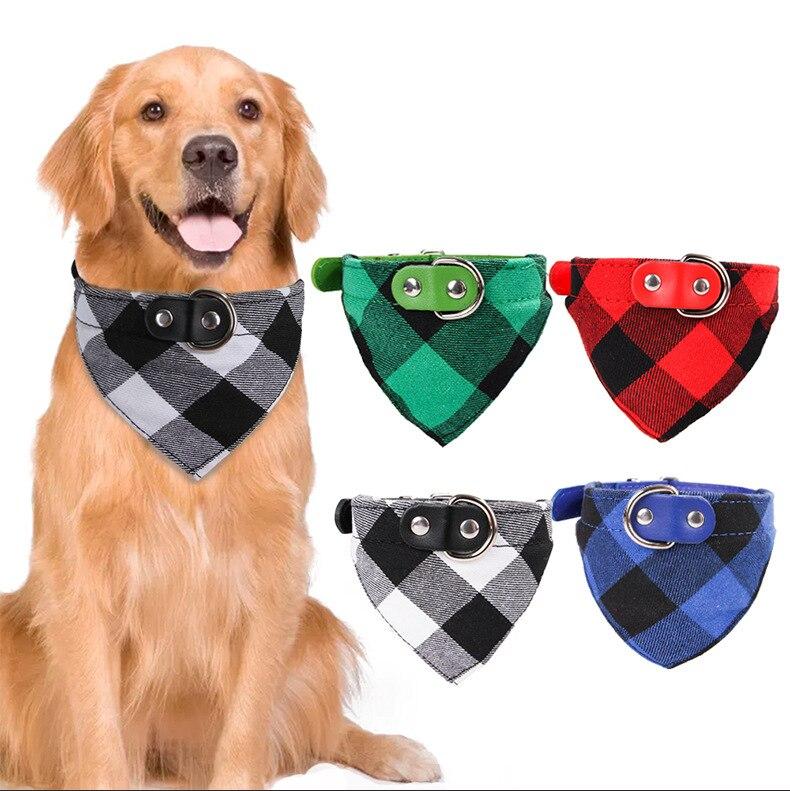 Bandana ajustable con estampado a cuadros para perro, Baberos de cachorro, bufandas triangulares lavables, toalla de Saliva para mascotas, Collar de algodón de doble capa para mascotas