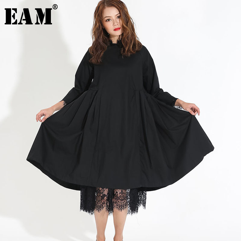 [EAM] Women Black Pleated Lace Two Piece Dress New Round Neck Long Sleeve Loose Fit Fashion Tide Spring Autumn 2020 Y13101