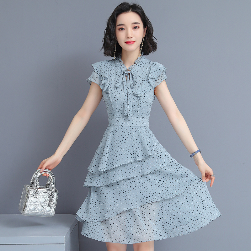 Feminine 2019 Summer Wear New Style Dress Women's Korean-style Waist Hugging Fashion Chiffon Dress