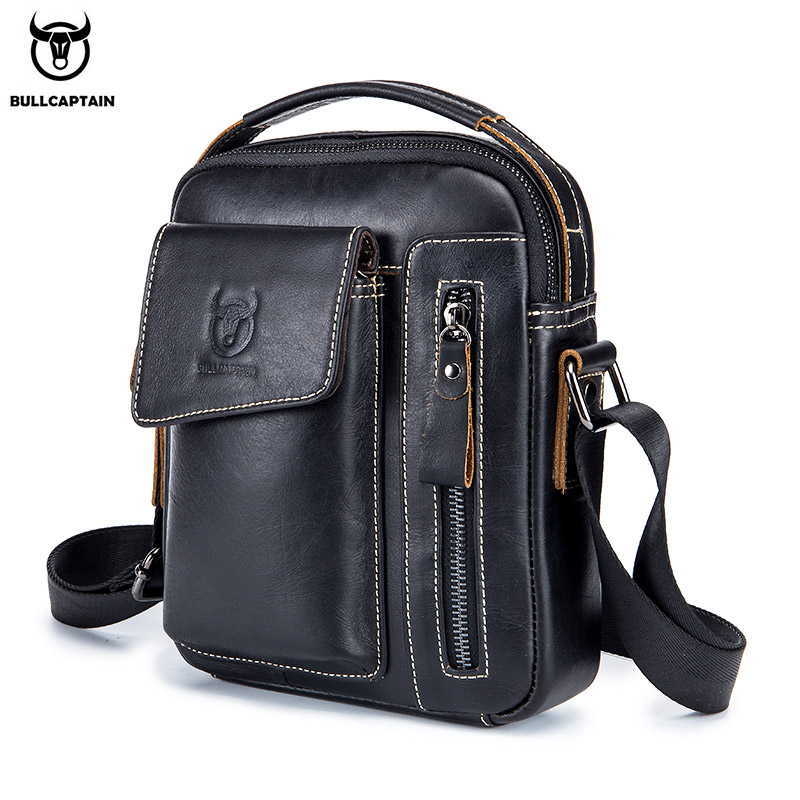 BULLCAPTAIN First Layer Cowhide Men's Messenger Bag Business Casual Handbag Men's Leather Messenger Bag Large Capacity