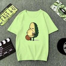 Cotton Avocado Print Women T-shirt Fashion Green Summer Funny Tees Female Creative Short Sleeve O-Neck Cartoon Top