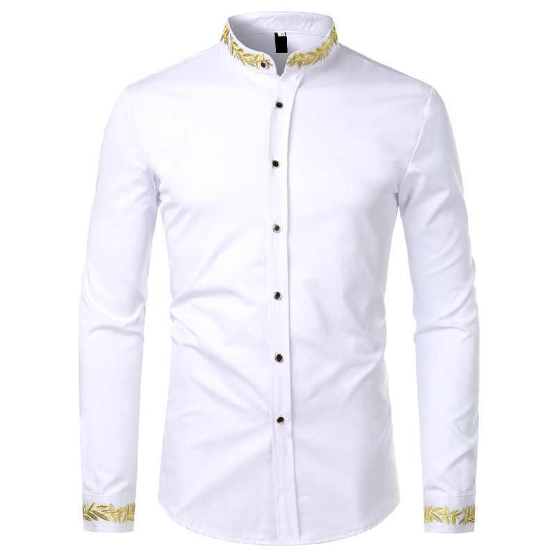 Oro Nero Del Ricamo Della Camicia Degli Uomini 2020 New Spring Mens Camicie Eleganti Del Collare Del Basamento Pulsante Up Camicette Chemise Homme Camisa Masculina