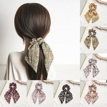 Fashion Floral Print Girls Hair Scarf Bows Rubber Bands Scrunchie Chiffon Elastic Hair Bands For Women Hair Ties Accessories Hot