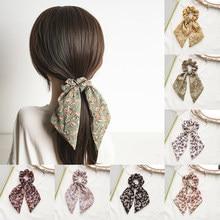 Pañuelo para el pelo con estampado Floral para niña, lazos, bandas de goma, banda elástica de gasa, bandas para pelo para mujer, accesorios para corbatas de pelo