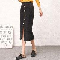 Women's Knit Skirt Fall 2019 Mid Length Split Elastic Waist Faux Mink Hair Knitted Skirts Office Ladies Work Casual Formal Skirt