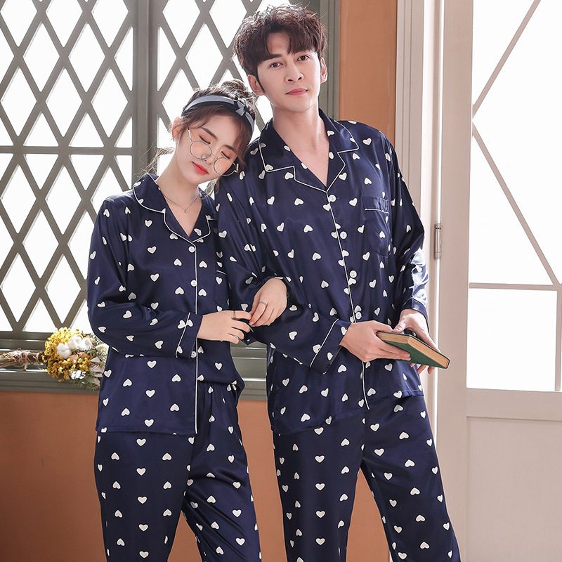 Lovers Pajamas Couples Unisex Silk Sleepwear Soft Pyjama Sets Nightgown Pajama Sets Long Sleeve Men Lounge Pijamas