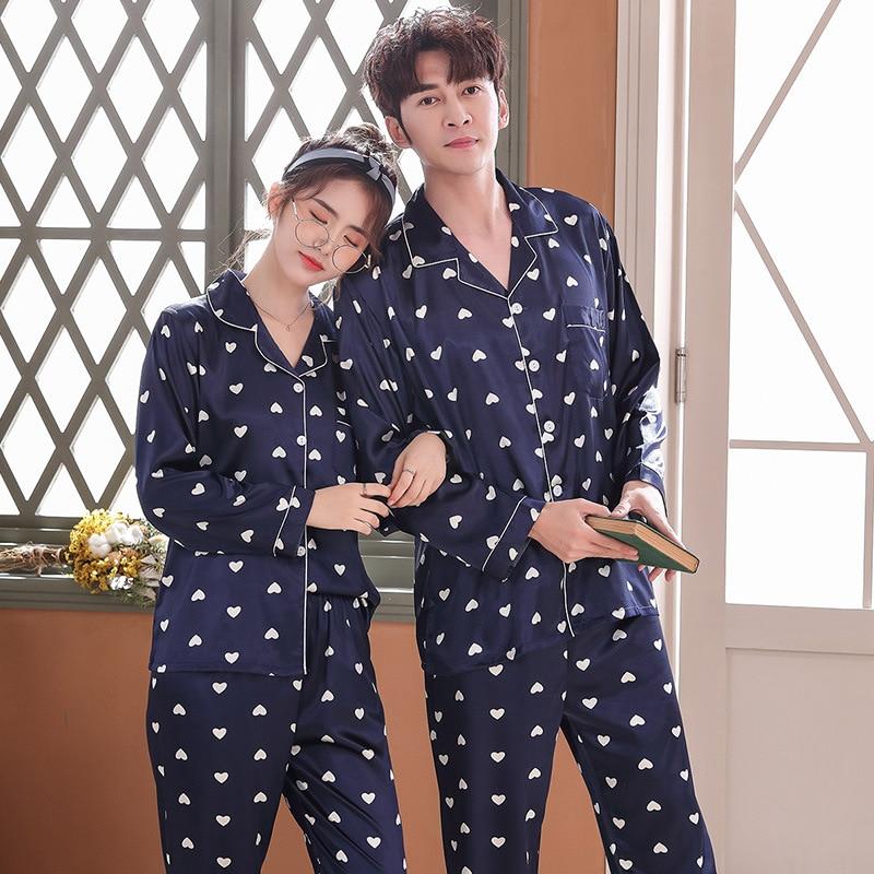 Lovers Pajamas Couples Unisex Silk Sleepwear Soft Pyjama Sets Nightgown Pajama Sets Long Sleeve Men Lounge Pijamas