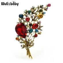 Женская брошь в форме цветка wuli & baby большая букета с кристаллами