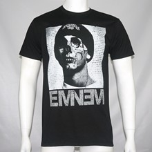 Authentic Eminem Skull Face Slim Shady Logo Black T-Shirt S-5XLXxxl New Novelty Cool Tops Men Short Sleeve Tshirt(China)