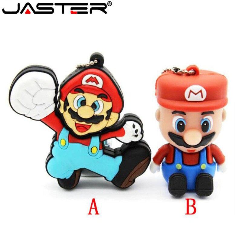 JASTER Cartoon 64GB Cute Super Mary USB Flash Drive 4GB 8GB 16GB 32GB Pendrive USB 2.0 Usb Stick