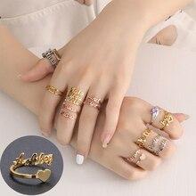 Women Rings Jewelry Wedding-Ring Gift Double-Name-Rings Custom Stainless-Steel Adjustable