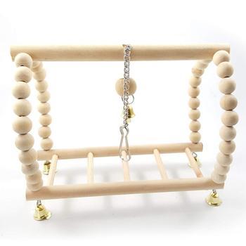 Bird Parrot Wood Hanging Bridge with Beads Bells Suspension  Swing Ladder Climbing Frame Toy Cage Balance Training 2