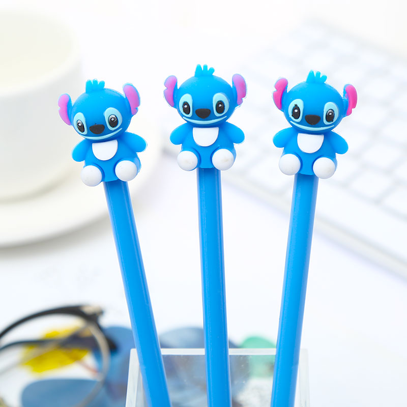 12Pcs/pack Novelty Kawaii Stitch Animal Gel Pen Blue Ink Stationery Cute Anime Thing Pencil Case Bag Cartoon Stationary Material(China)