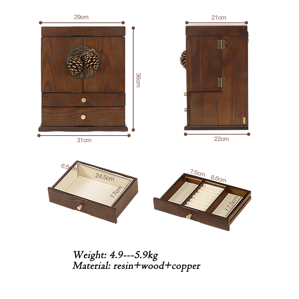 Dressing Table Earrings Cosmetics Jewelry All in one Receptacle Box Dust proof Vintage Wooden Drawer type