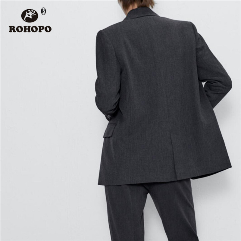 ROHOPO Single Buttons Notched Collar Round Edge Grey Blazer Side Flaps Welted Pockets Solid Autumn Office Ladies Outwear #6196