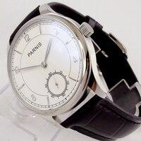 44mm parnis relógio masculino vintage branco dial prata mãos 17 jóias aisa mecânica 6498 mão enrolamento movimento relógio de pulso masculino 29|Relógios mecânicos| |  -