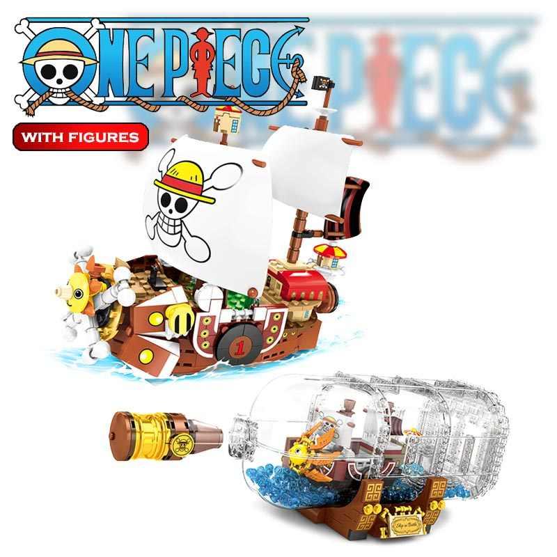 568 sztuk The THOUSAND SUNNY statek piracki w butelce Model Building Blocks pomysły Boat Bricks Creator One Pieces zabawki dla dzieci prezenty