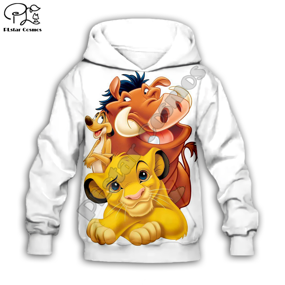 Simba The Lion King Cartoon Hoodie Kids Baby 3D Print Zipper Hoodies Sweatshirts Boy Girl Long Sleeve Cartoon Style-2
