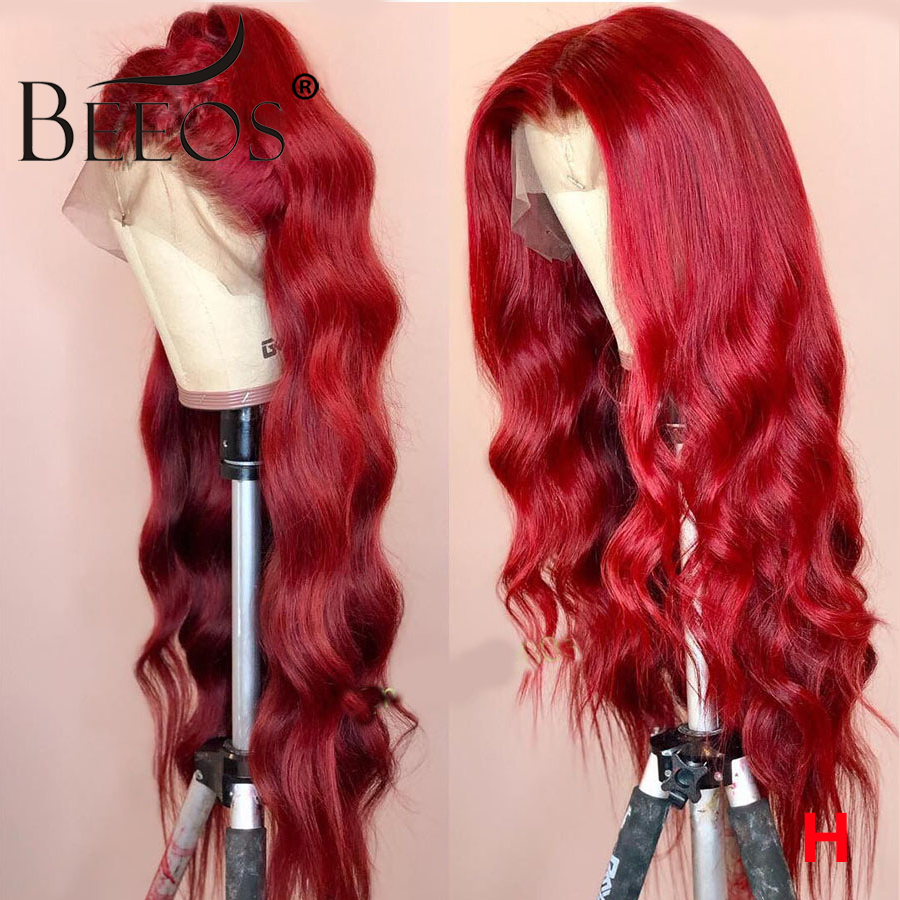 Beeos Wavy Colored Red Wigs 150% Women 13*6 Lace Front Human Hair Wigs PrePlucked Deep Parted Brazilian Remy Transaprent HD Lace