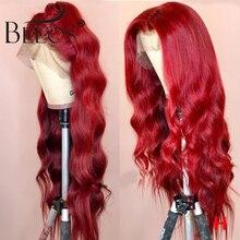 Perruque Lace Front wig Deep Part brésilienne Remy naturelle Beeos, cheveux humains, pre plucked, Deep Parted, couleur rouge, 13*6, 150% de densité