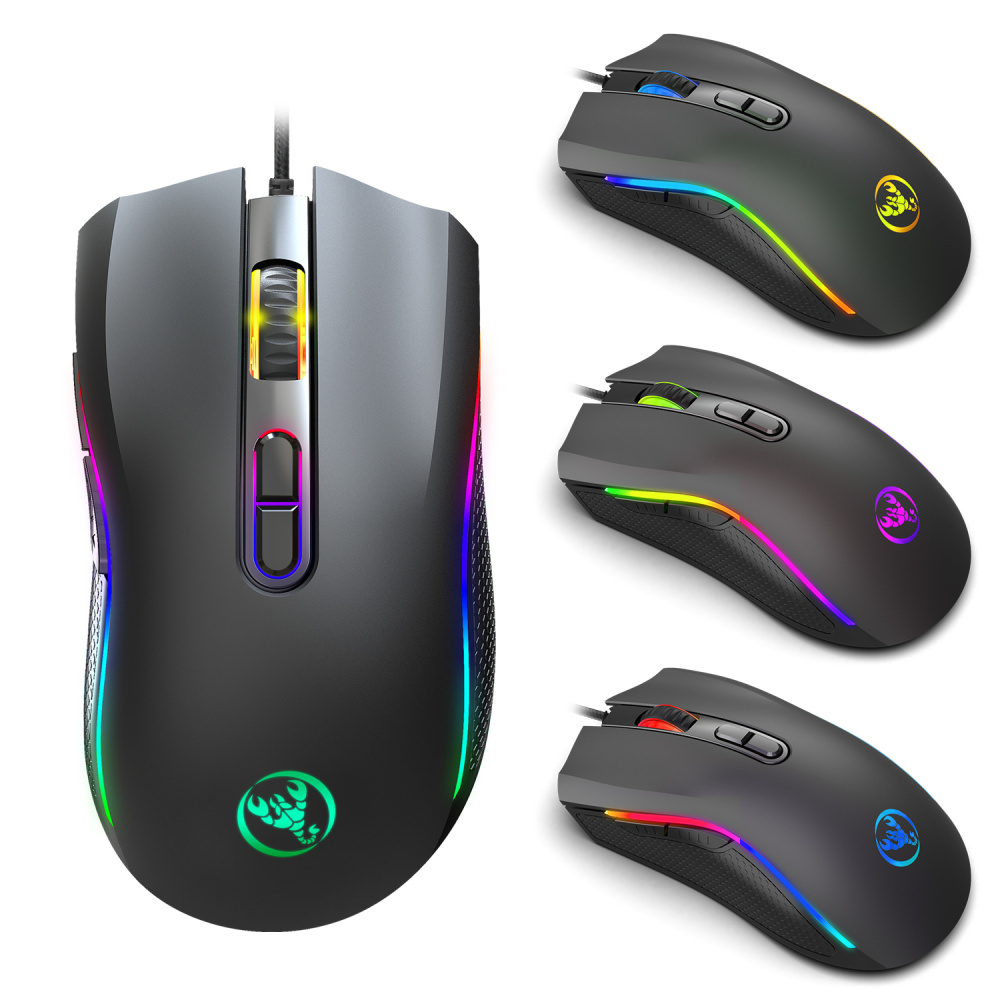 HXSJ new TYPE-C wired mouse <font><b>7200DPI</b></font> gaming mouse 7 key macro programming RGB lighting game player PC notebook for black image