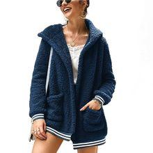 цены Women 2019 Autumn Faux Fur Fluffy Fleece Front Open Coat Jacket Big Pockets Hooded Oversized Casual Warm Overcoat