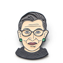 Ruth Bader Ginsburg Brooches Pride Zinc Alloy Pin medal Cartoon Cute insignia For shirt backpack clothes decoration Badges E0405